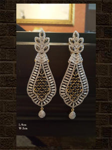 Elegant long black AD earring with intricate design