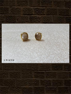 Routile golden rose cut...sterling silver semi precious stone studs in square shape