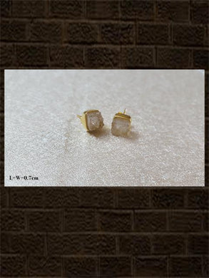 Druzy white rose cut...sterling silver semi precious stone studs in square shape
