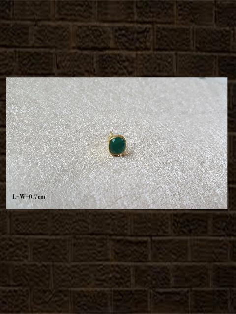 Onyx green rose cut....sterling silver semi precious stone studs in square shape