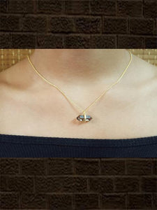 Gold plated sterling silver smoky faceted pendant with chain