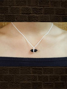 Sterling silver Black onyx faceted pendant with studded zircon with chain