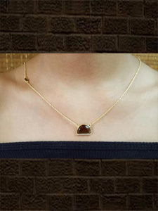 Gold plated sterling silver Smoky pendant with studded zircon with chain
