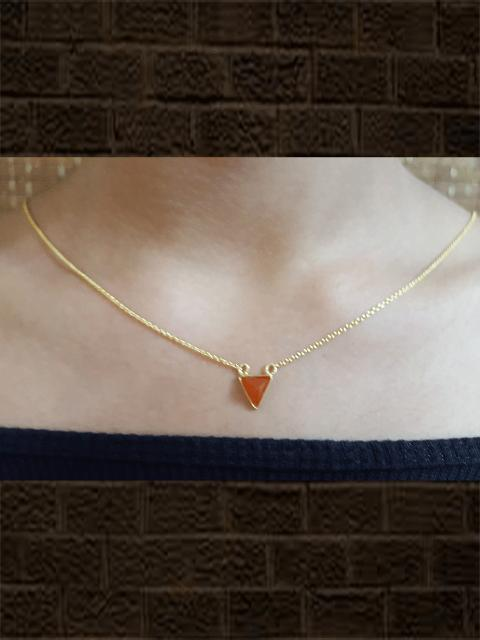 Sterling silver red onyx pyramid pendant with chain