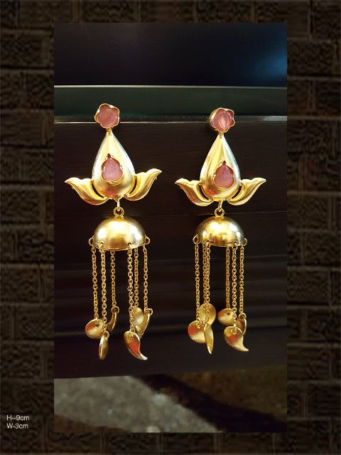Light weight pink stone jhoomki with hanging leaves