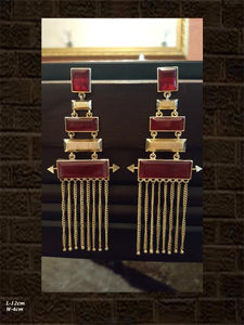 Red rectangular stones with long chains earring