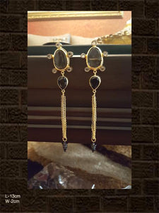 Smoky and black stone long earring with black and gold polish
