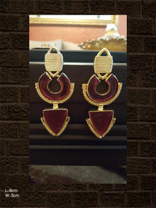 Stylish red stone earrings