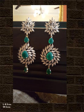 Green stone long AD earring