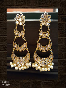 Long 3 segmented chandballi earring with white beads in glass polki