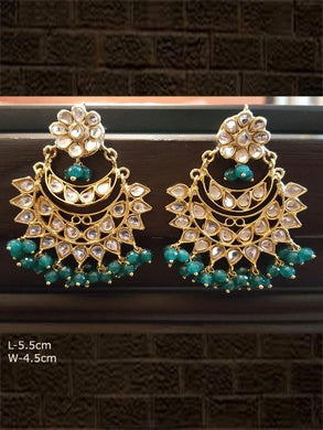 Beautiful green chandballies with glass polki