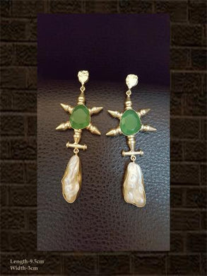 MOP and aqua green stone long earring
