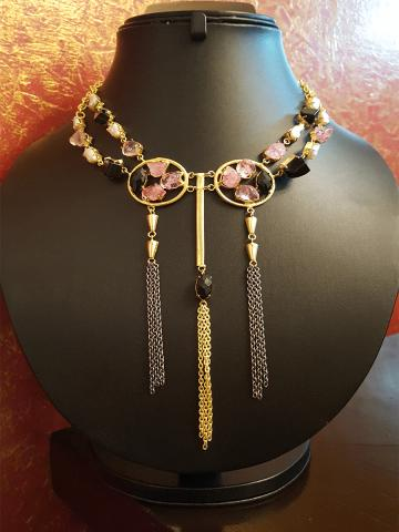 Stylish pink and black stone neckpiece with three tassels