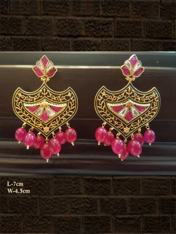 Ruby drops rani and kundan earring with intricate design