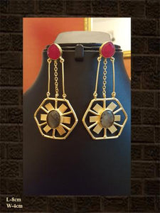 Magenta and smoky stone elegant earring in matt finish
