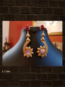 Red and pink stone leaf design earring