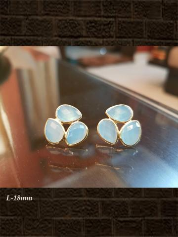 Three leaf rose chalcedony checker studs