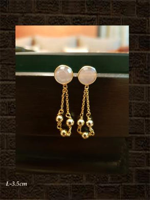 Rose chalcedony checker earring with three bead chain tassel