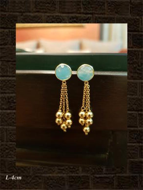 Aqua chalcedony checker earring with chain tassel