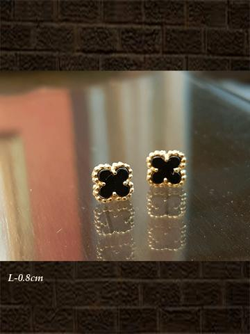 Sterling silver gold black onyx small flower design studs