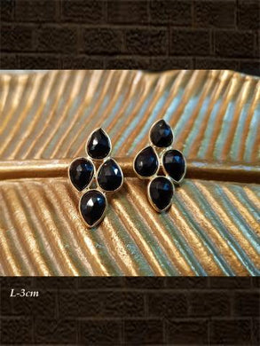 Sterling Silver black onyx  briolette and black onyx checker earrings