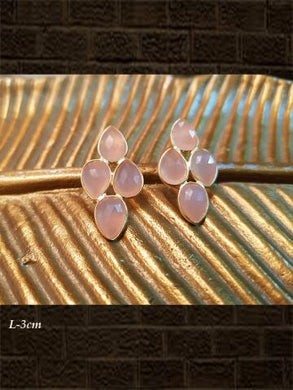 Sterling Silver Rose chalcedony  briolette and rose chalcedony  checker earrings