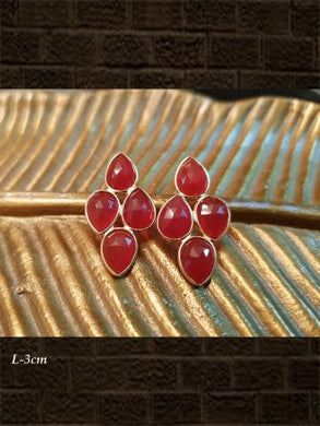 Sterling Silver Red onyx  briolette and Red onyx  checker earrings