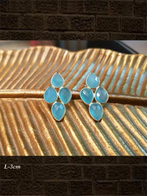 Sterling Silver Aqua chalcedony  briolette and Aqua chalcedony  checker earrings