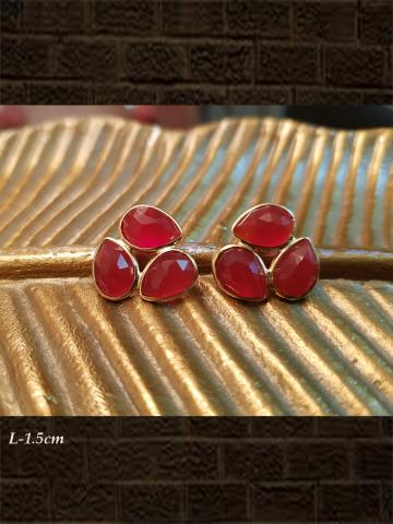 Sterling silver Three leaf red onyx checker studs