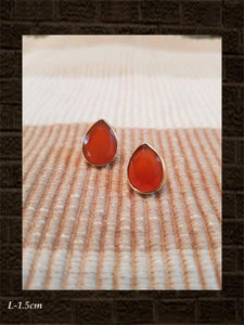 Onyx red flat cut sterling silver studs