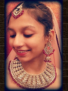 Broad ruby drop set with jhoomki chandbali earrings and maangtika