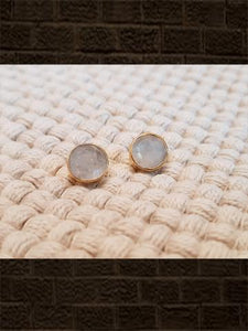 Rainbow moonstone flat cut pure silver studs(length-0.8cm)