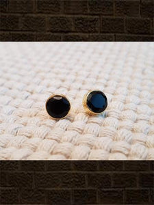 Black onyx flat cut pure silver studs(length-0.8cm)