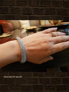Mesh AD white finish openable bracelet