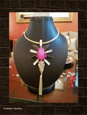 Bold pink ,mop and black stone pendant in golden hasli