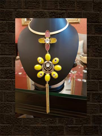 Lemon stone flower design long tassel hasli