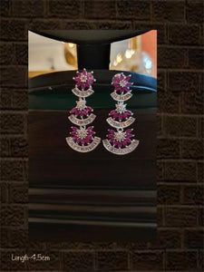 Black finish AD  and ruby stone three tier earring