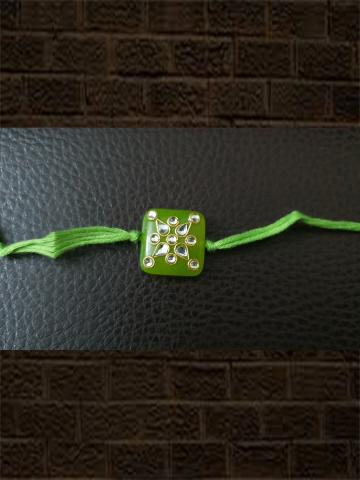Light green kundan work rakhi - Odara Jewellery
