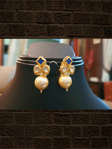 Blue stone and kundan flower with pearl drop