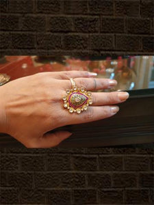 Rani stones kundan and AD ring - Odara Jewellery