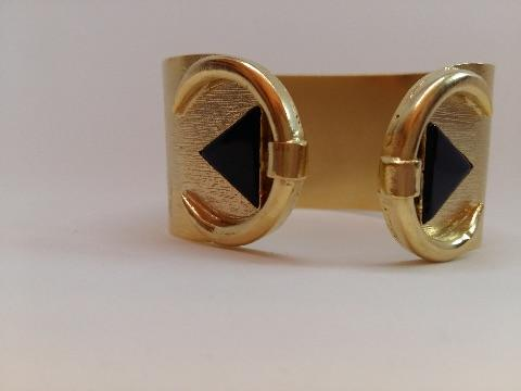 Two black triangle stone broad handcuff - Odara Jewellery