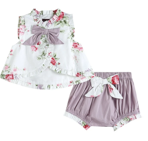 Lilac Ruffle And Bows Swing Set