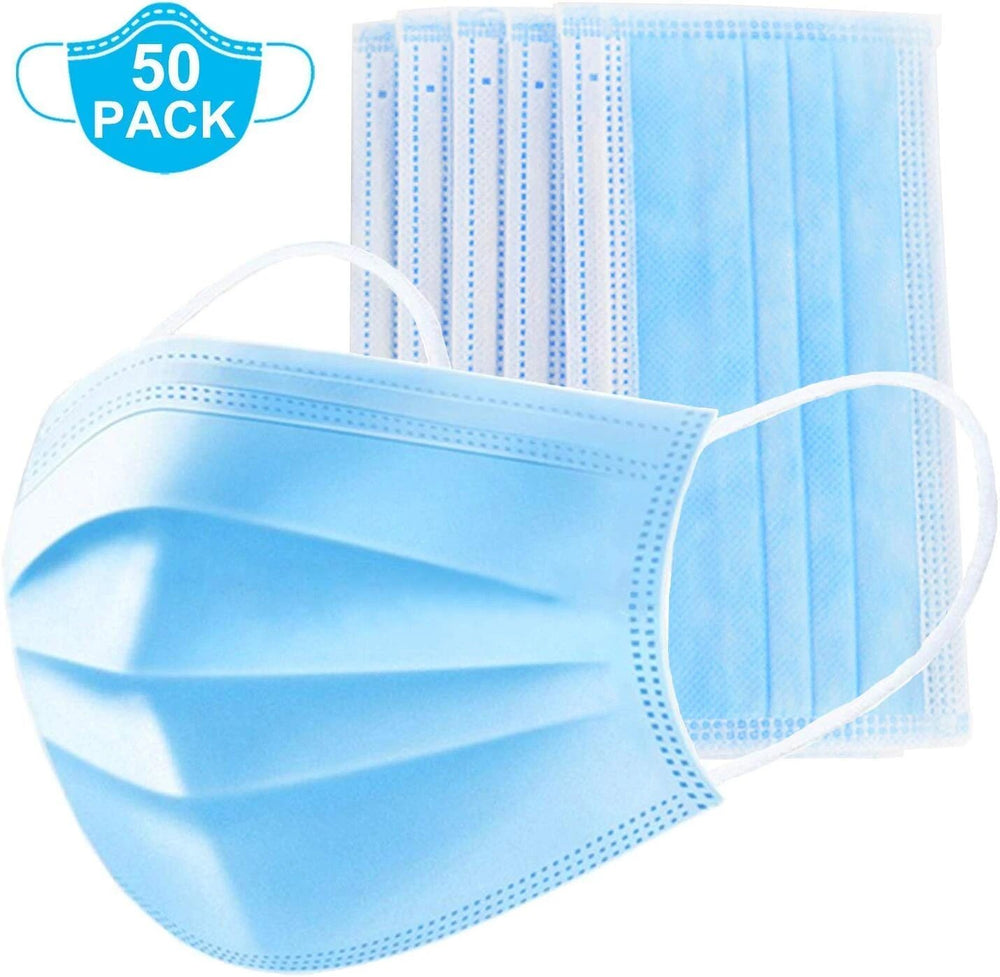 3-Layer Face Mask for Dust Protection and Personal Health, Pack of 50