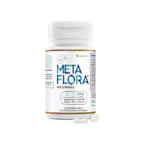 METAFLORA Oral Probiotics, 9 targeted strains, 3 billion cfu's, chewable mint tablet.