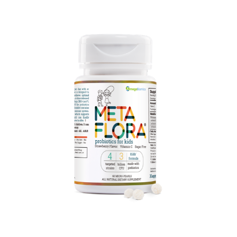 METAFLORA Kids-Vitamin C added-Strawberry Flavor-Sugar Free-Patented Time Release Pearl Tablets (New!)