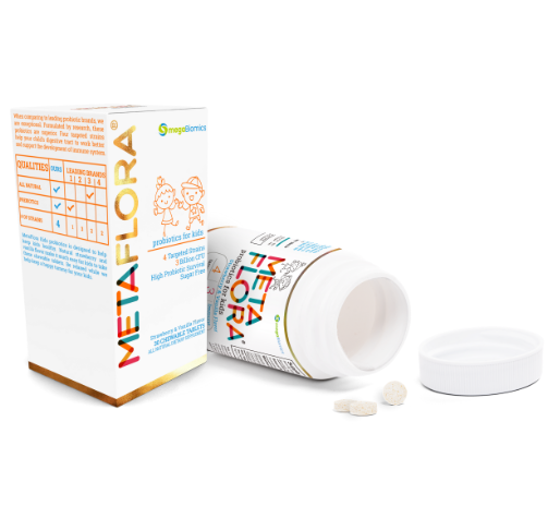 METAFLORA Kids ENT-Support ENT Health-Strawberry-vanilla Flavor-Sugar Free-Chewable tablets