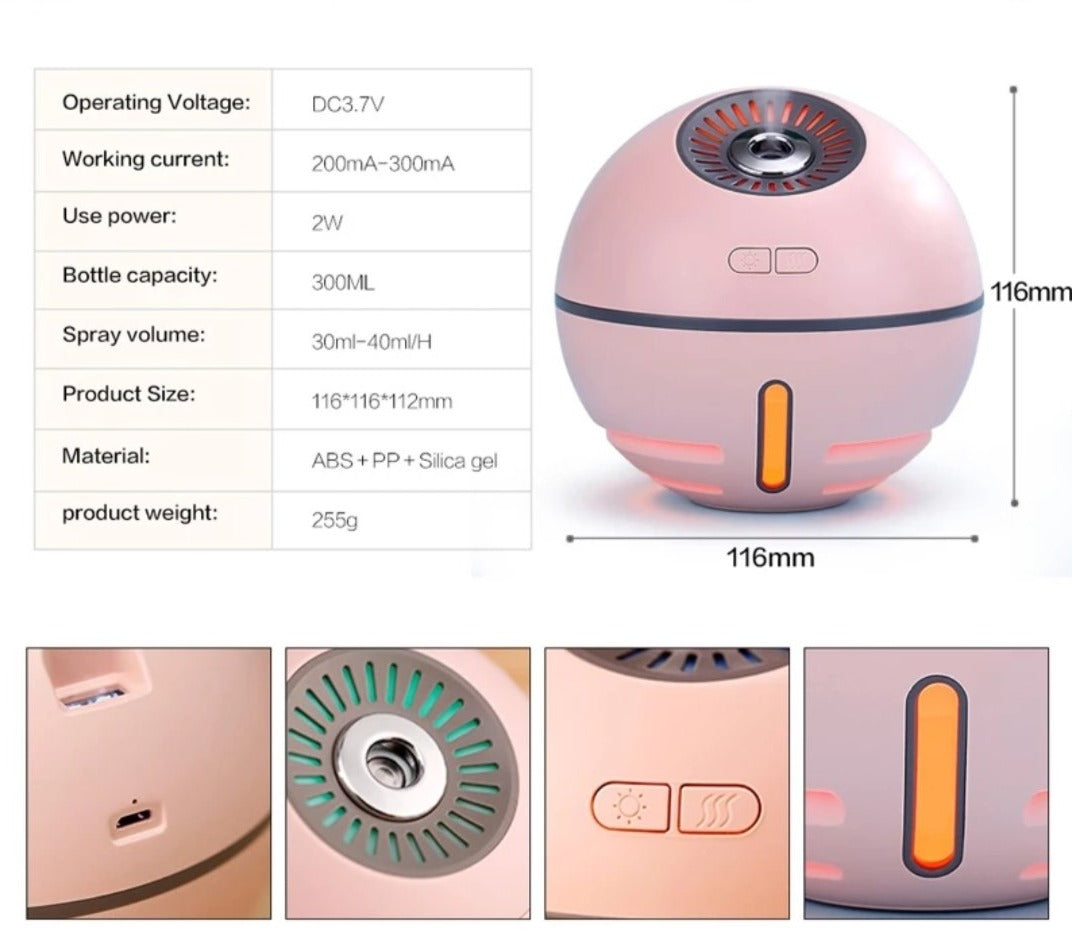 NEW - ORBOMI Humidifier With Fan & Light - 2000 mAh Power Bank