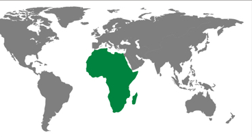 Africa region on an illustrative map