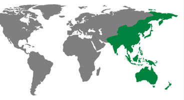 Asia Pacific region on an illustrative map