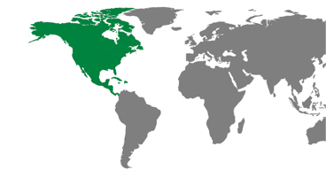 North America region on an illustrative map